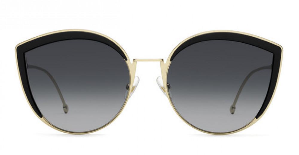 افضل نظارة فندي نسائي شمسية - غير منتظمة الشكل - لون ذهبي - زكي