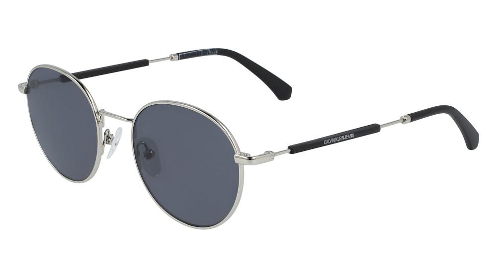 نظارات كالفن كلاين الشمسية للرجال - شكل دائري - فضية - زكي للبصريات