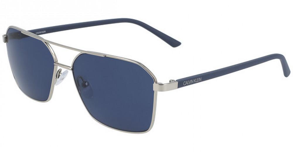 نظارات كالفن كلاين الشمسية للرجال - شكل افياتور - لون فضي - زكي للبصري