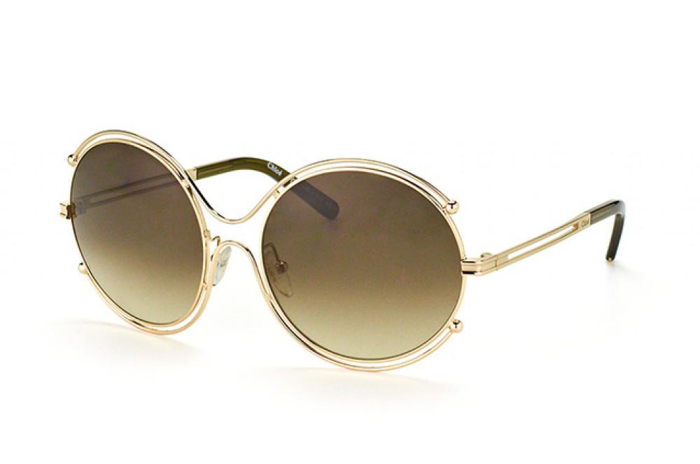 نظارة كلوي شمسية للنساء - شكل دائري - لون ذهبي - زكي للبصريات