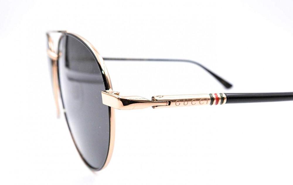 احسن نظارة قوتشي شمسية للرجال - شكل بيضاوي - لون ذهبي - زكي للبصريات