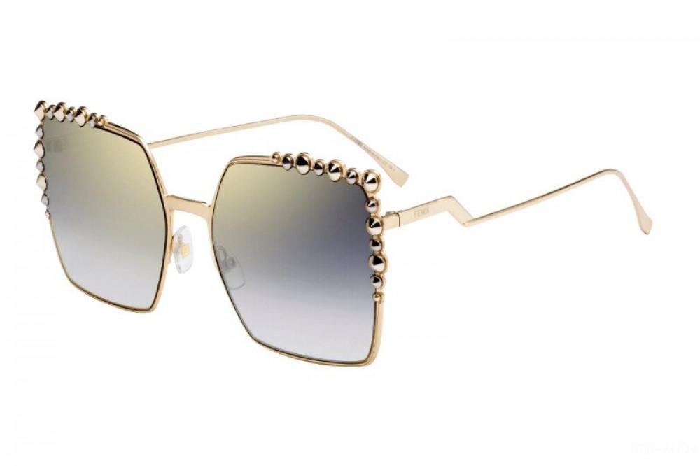 نظارة فندي نسائي شمسية - شكل مربع - لون ذهبي - زكي