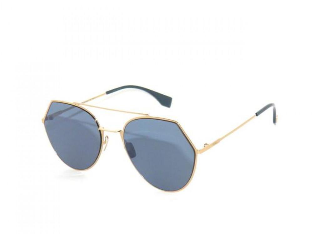 نظارة فندي شمسية للجنسين - غير منتظمة الشكل - لون ذهبي - زكي للبصريات