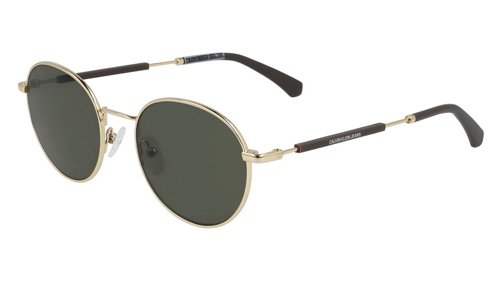 نظارات كالفن كلاين الشمسية للجنسين - شكل دائري - لون ذهبي - زكي