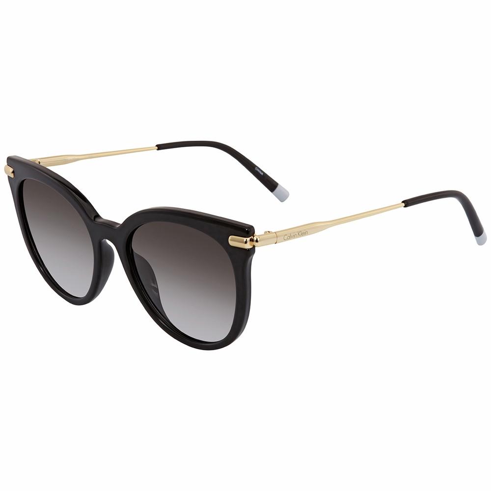 نظارة شمسية كالفن كلاين للنساء - شكل دائري - لون اسود - زكي