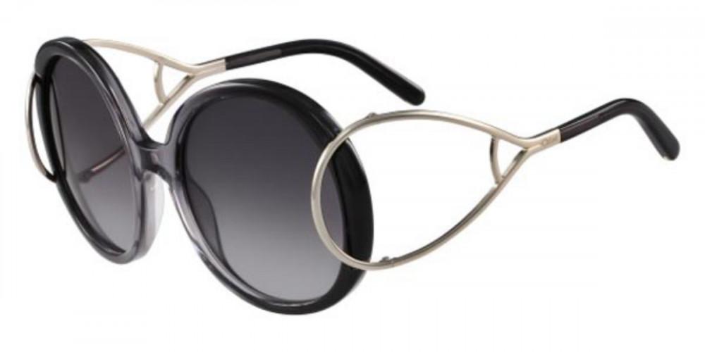 نظارة كلوي شمسية للنساء - شكل دائري - لون أسود - زكي