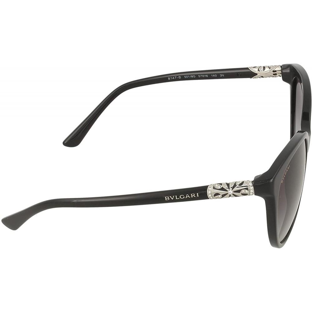 نظارة بولغاري نسائي شمسية - شكل بيضوي - لون أسود - زكي