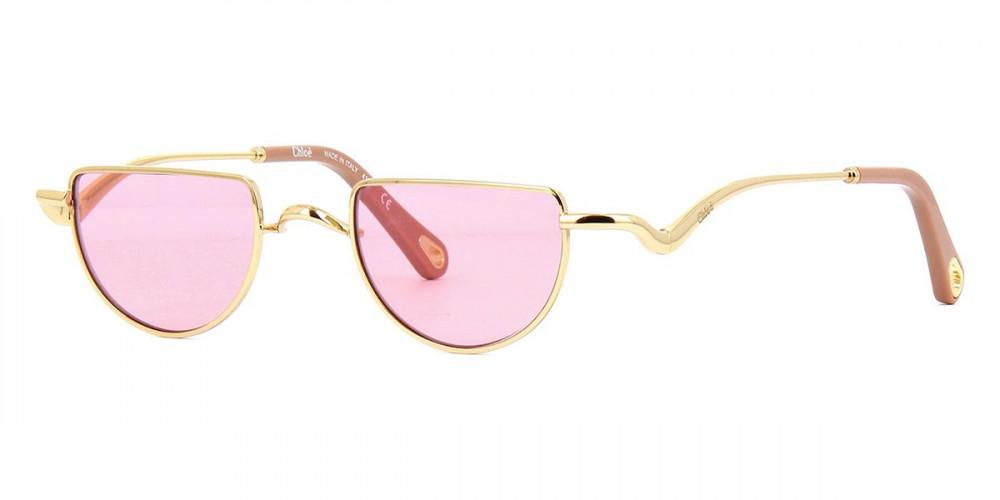 نظارة كلوي شمسية للنساء - شكل غير منتظم - لون وردي - زكي