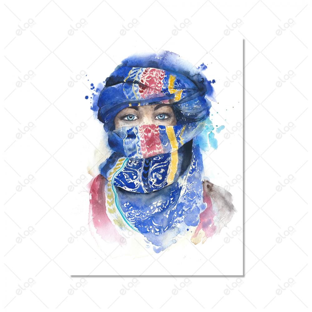 لوحة فنية امراة منقبة باللون الازرق وخلفية بيضاء