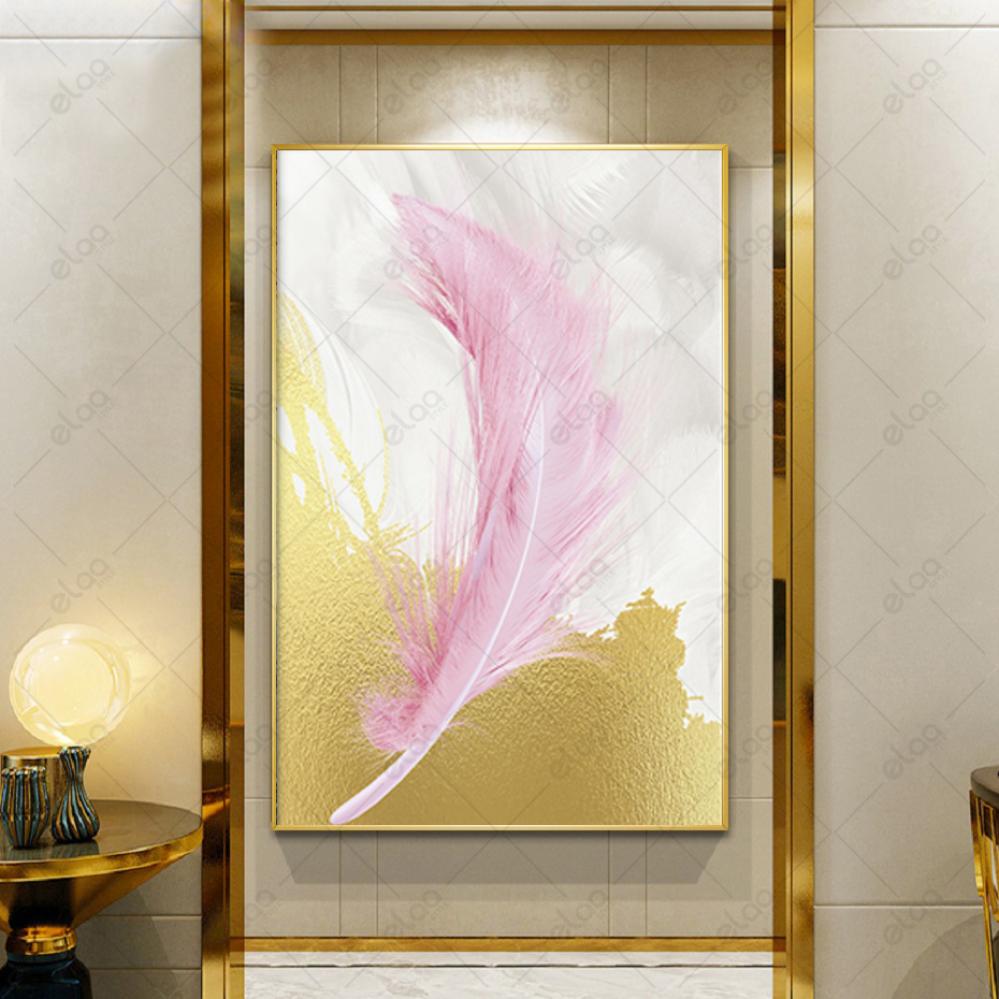 لوحة جدارية فن تجريدي ريش وردي بخلفية ذهبي وابيض
