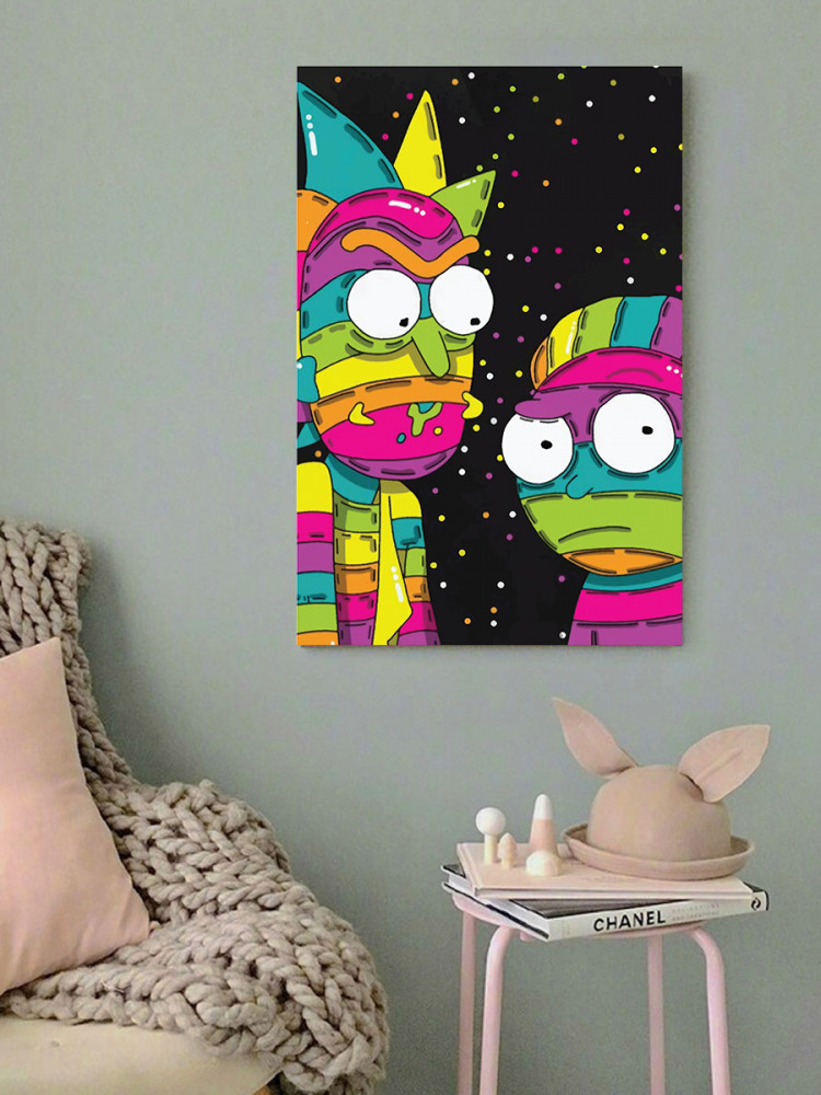لوحة ريك و مورتي خشب ام دي اف مقاس 40x60 سنتيمتر