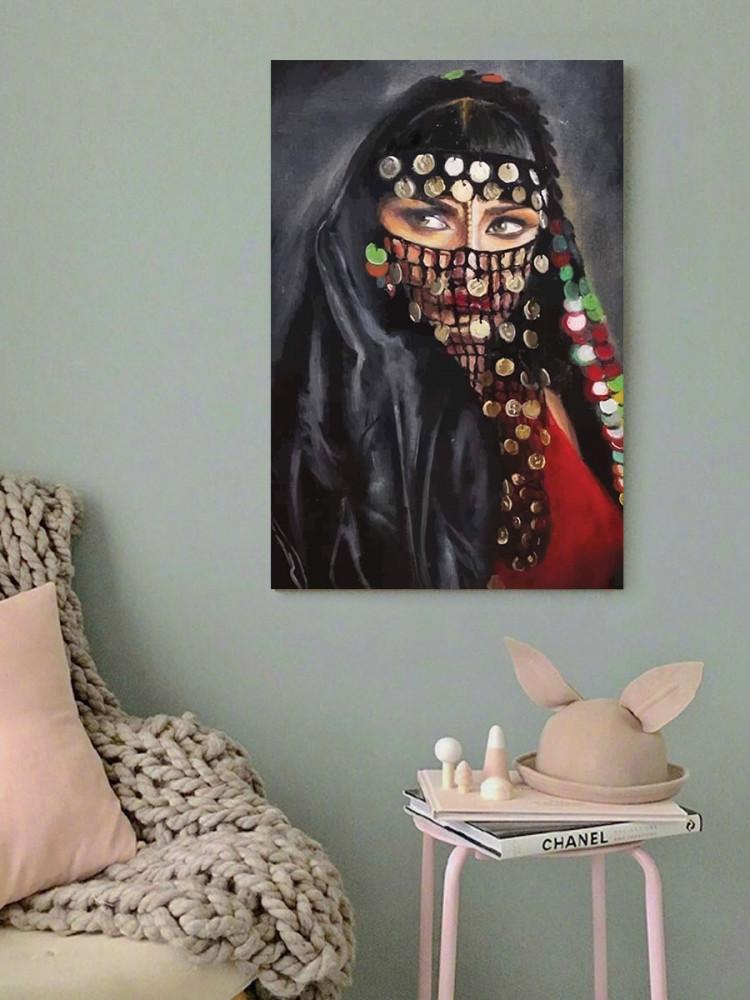 لوحة المرأة العربية خشب ام دي اف مقاس 40x60 سنتيمتر