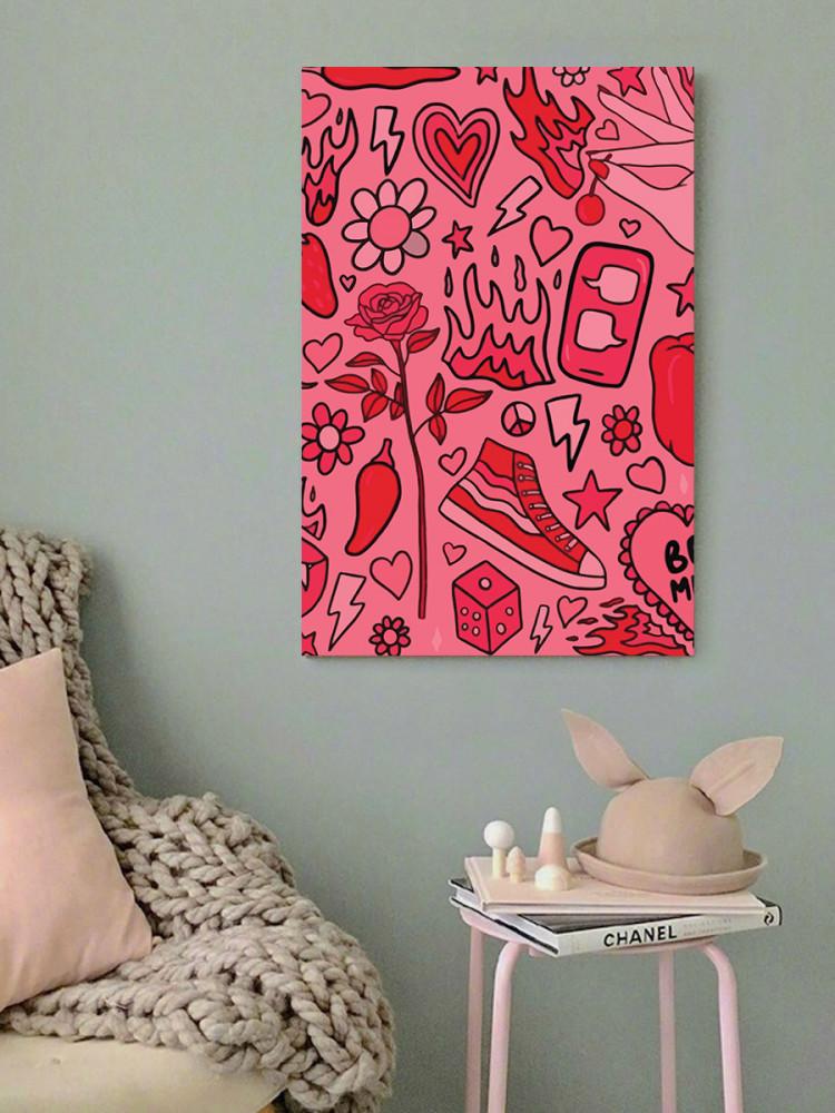 لوحة أيقونات لون زهري خشب ام دي اف مقاس 40x60 سنتيمتر