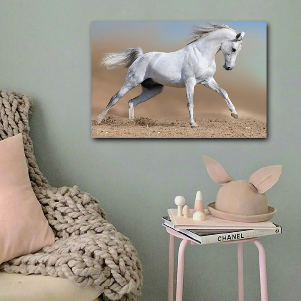 لوحة الحصان الأبيض خشب ام دي اف مقاس 40x60 سنتيمتر