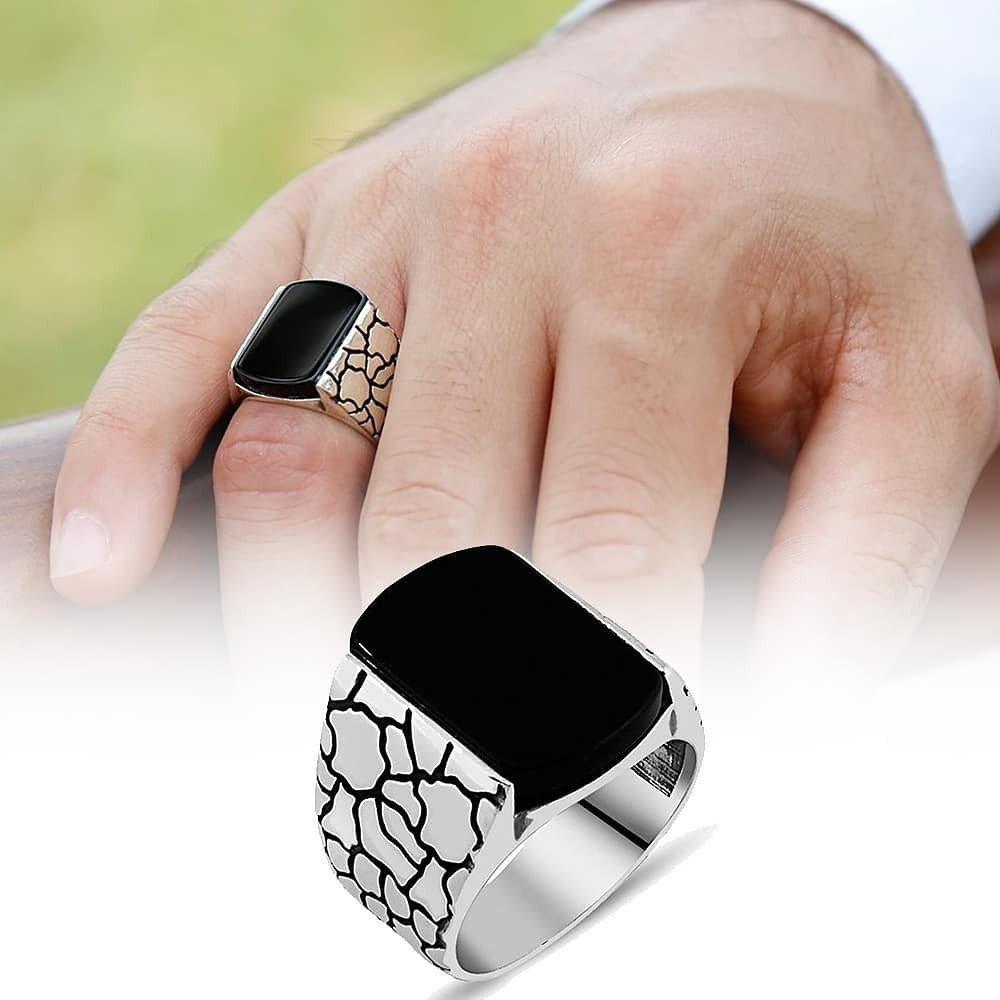 خاتم مرصع بحجر أونكس راقي