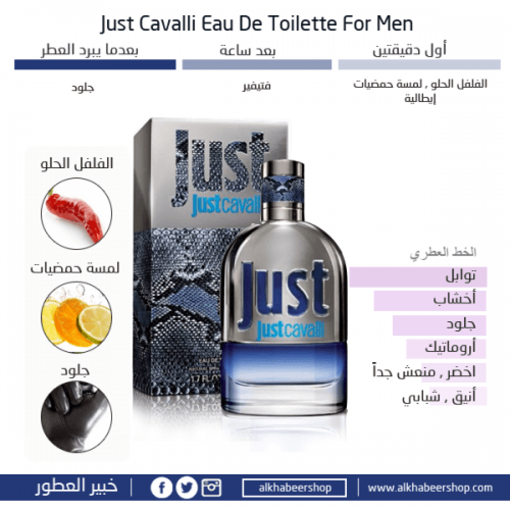 Roberto Cavalli Just Cavalli for Men Eau de Toilette 90ml متجر خبير ال