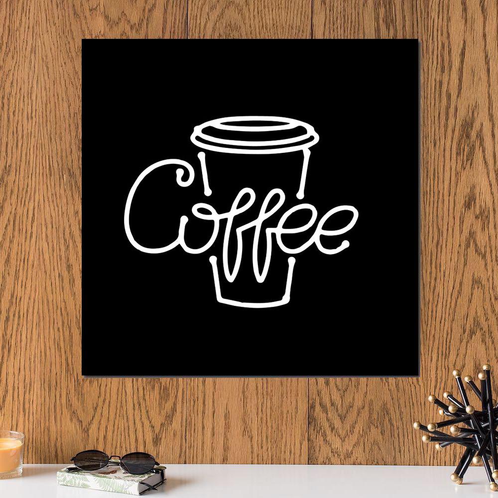 لوحة القهوة بفن النيون خشب ام دي اف مقاس 30x30 سنتيمتر