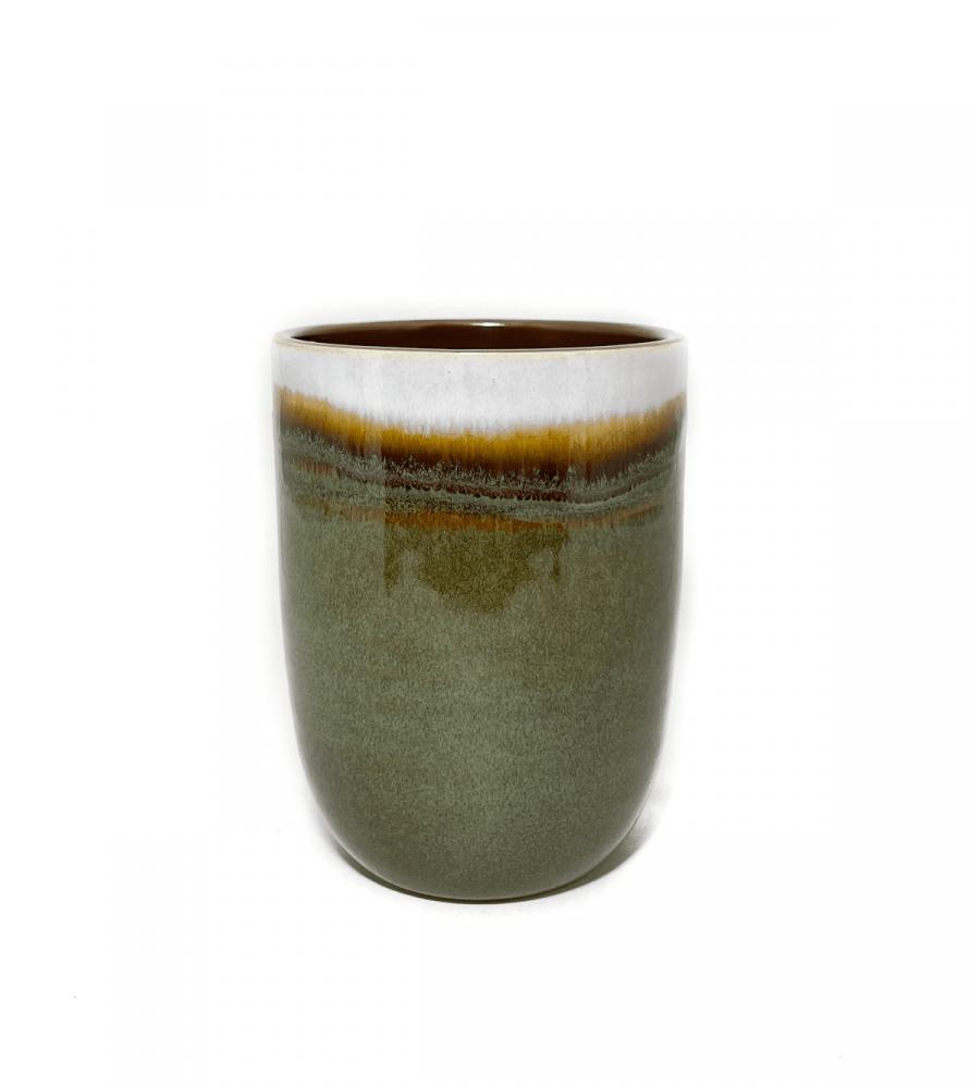 كوب قهوة سيراميك باللون البني والاخضر بتدرجات رملية 300 ملي