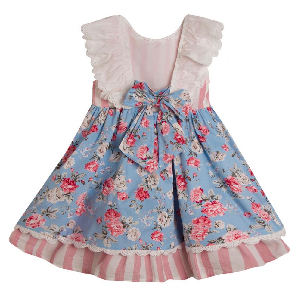 فستان- خطوط-وردية-اسباني