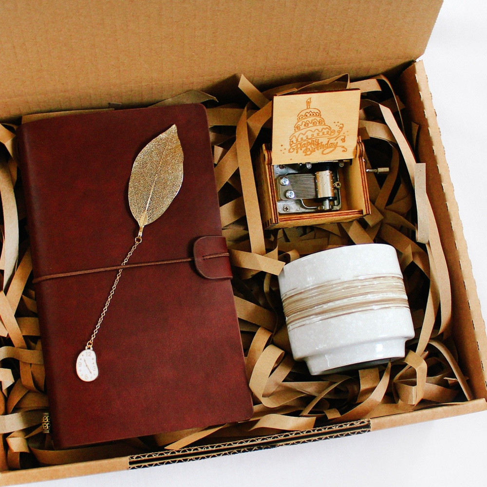 هدايا جاهزة هدية عيد الميلاد للرجال النساء  دفتر جلد بني فاصل كتاب