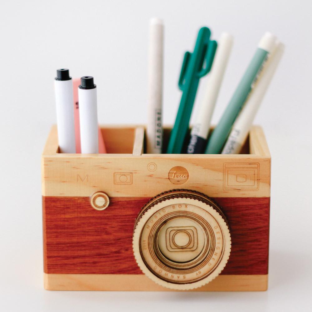 حامل قلم رصاص كاميرا خشبية حامل أقلام حاويات الأقلام ديكور مكتب