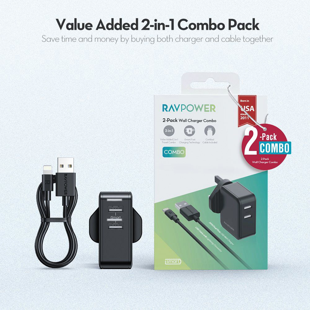RavPower wall charger dual USB 24w plus 1m lightning cable