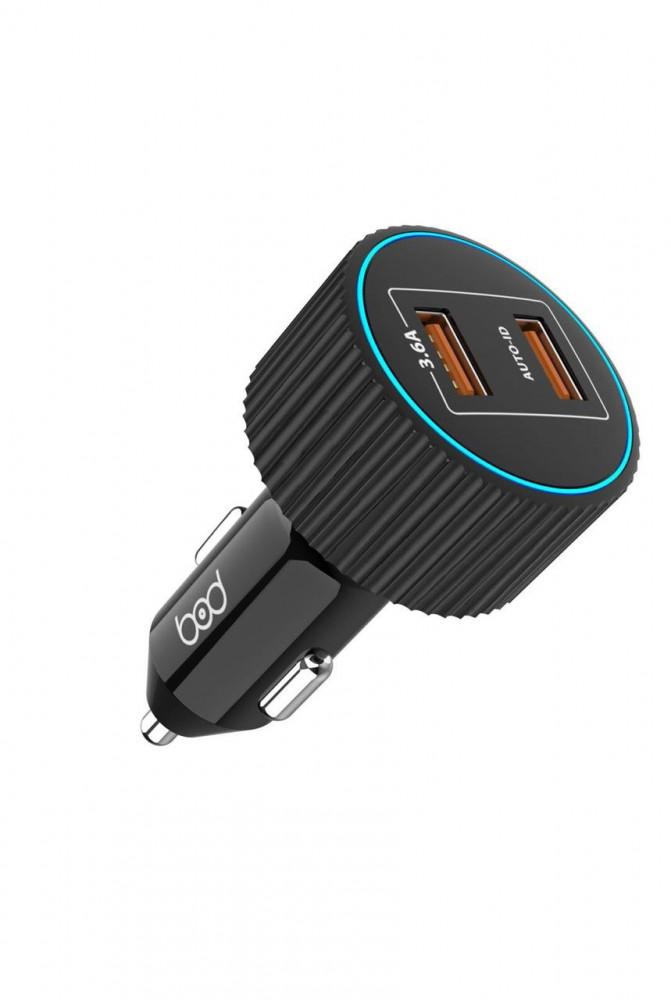شاحن سيارة بود بمنفذين USB اسود بقوة 18W يدعم تقنية الشحن الذكي IQ