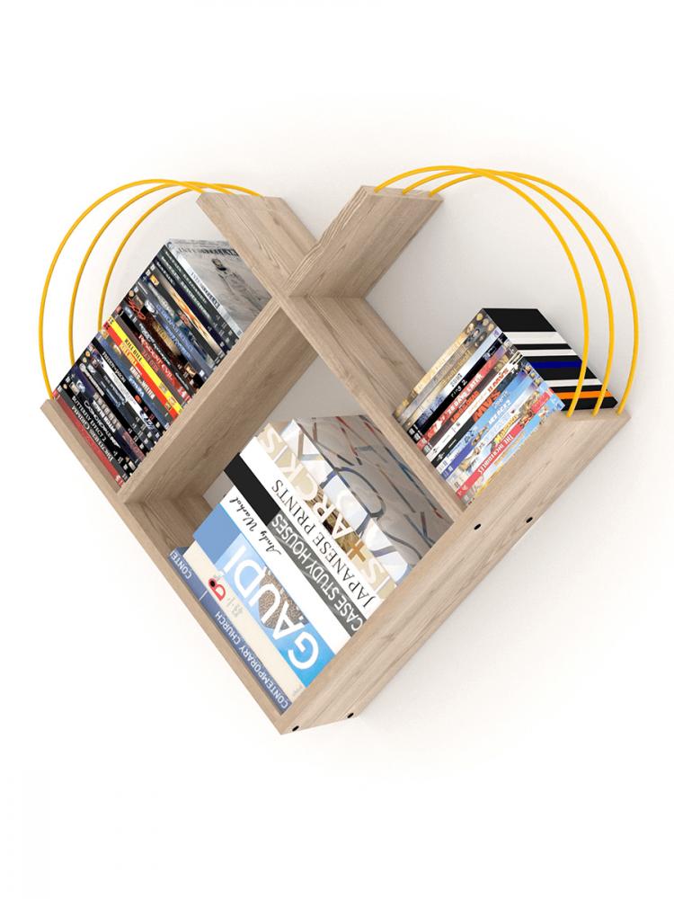 أفخم مكتبات الكتب خزانة كتب صغيرة لون بني فاتح بقضبان صفراء شكل عصري أ