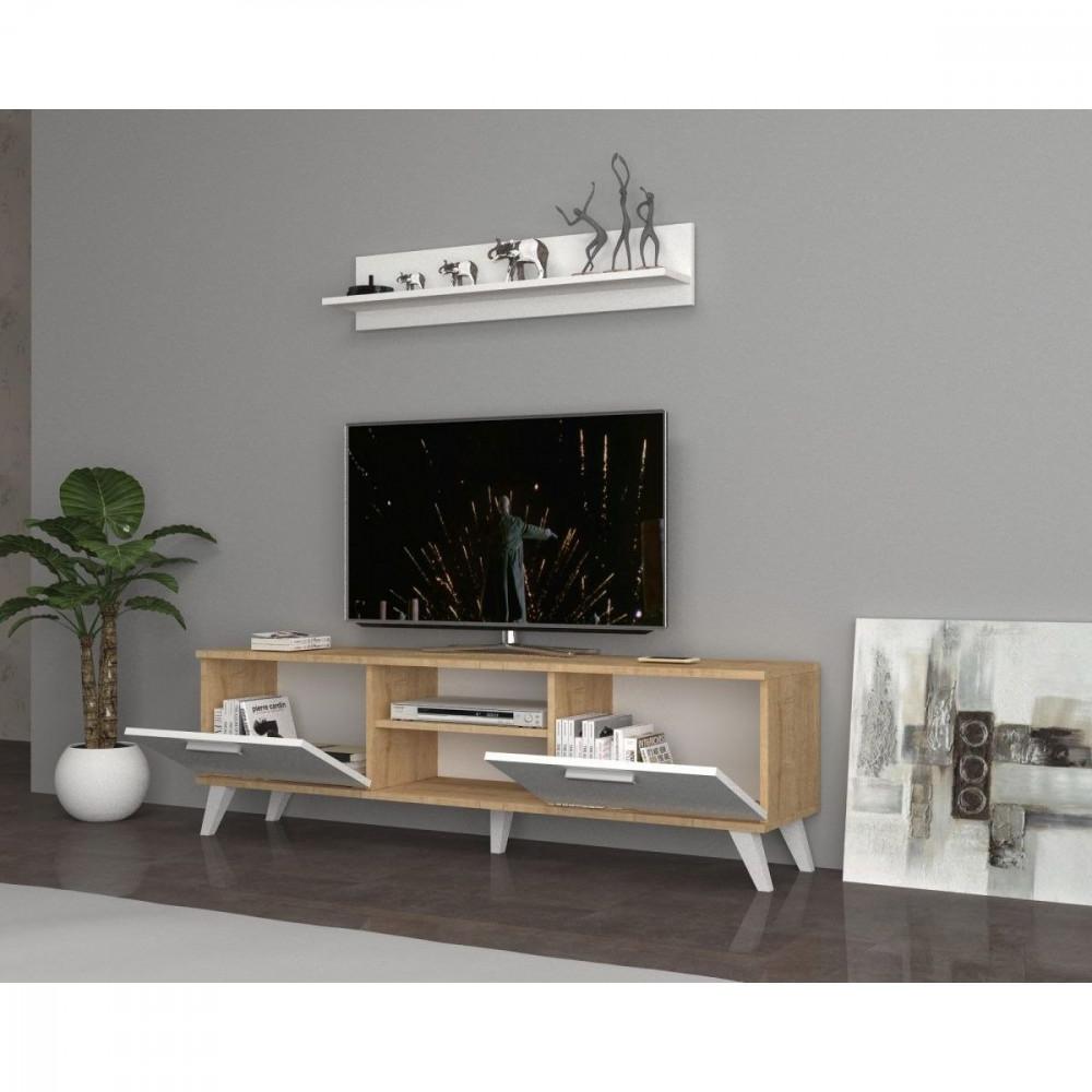 مواسم طاولة تلفاز خشبية بأرجل بلاستيكية مزينه بالتحف والأنتيكات