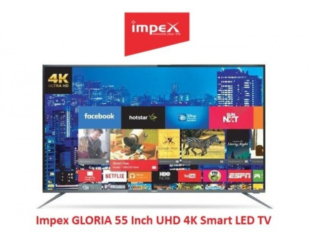 شاشة امبكس سمارت 55 بوصة Impex GLORIA 55 Inch UHD 4K IX55UHDS Smart LE