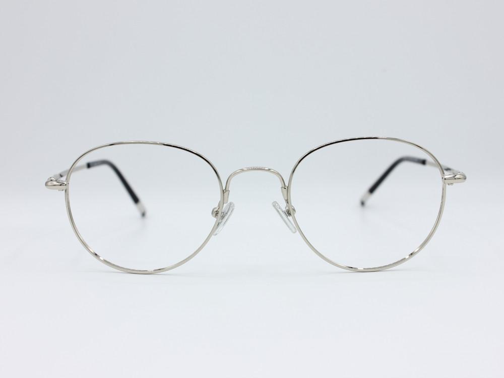 نظارة طبية من ماركة T دائرية مع عدسات بحماية لون الاطار فضي للجنسين