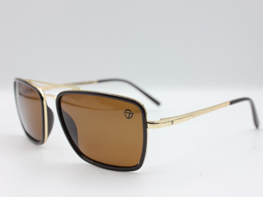 نظارة شمسية تصميم العدسه مربع من ماركة TAGO  اللون بني و ذهبي رجالية