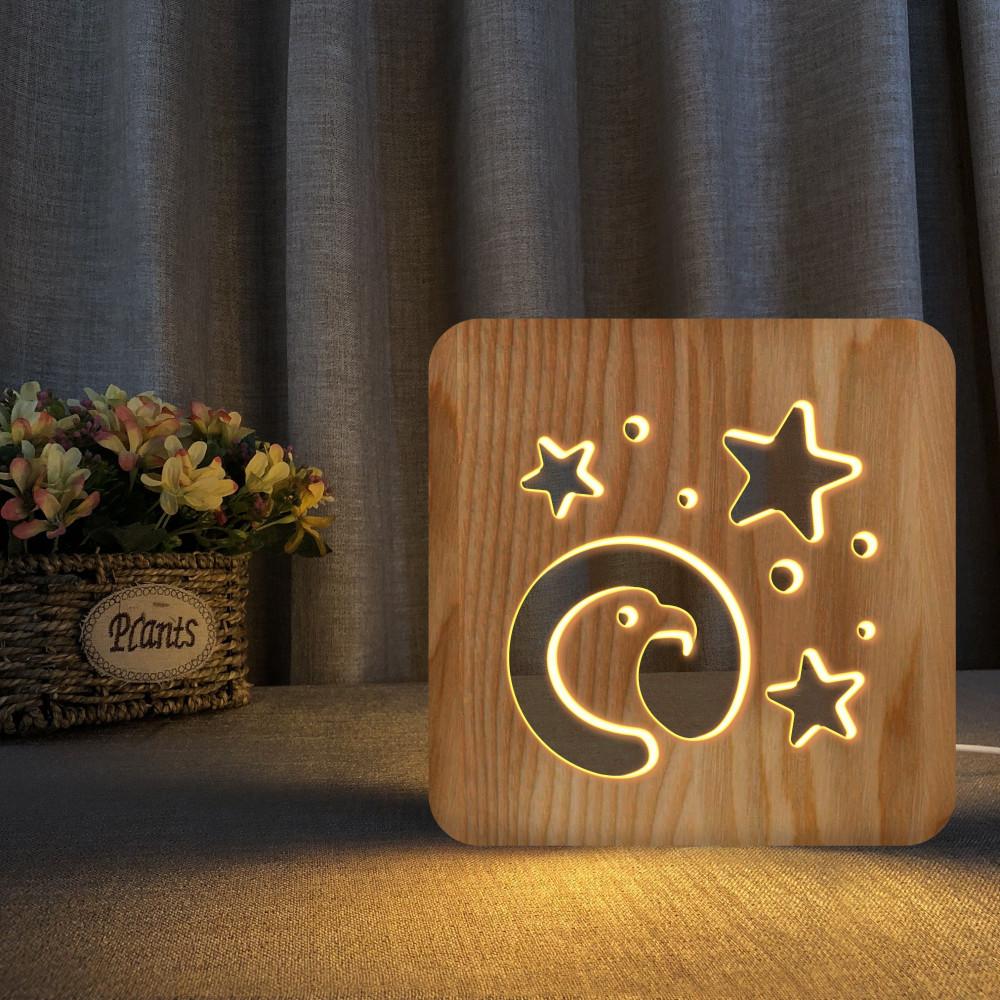 مواسم تحفة شكل النسر مضيئة خشبية خفيفة الوزن وغير قابلة للكسر