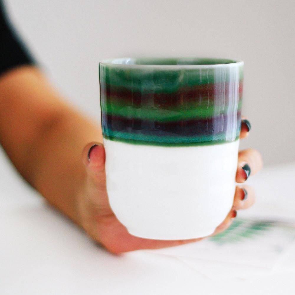 كوب سيراميك خزف كوب قهوة أدوات القهوة المختصة كوب أزرق أخضر متجر