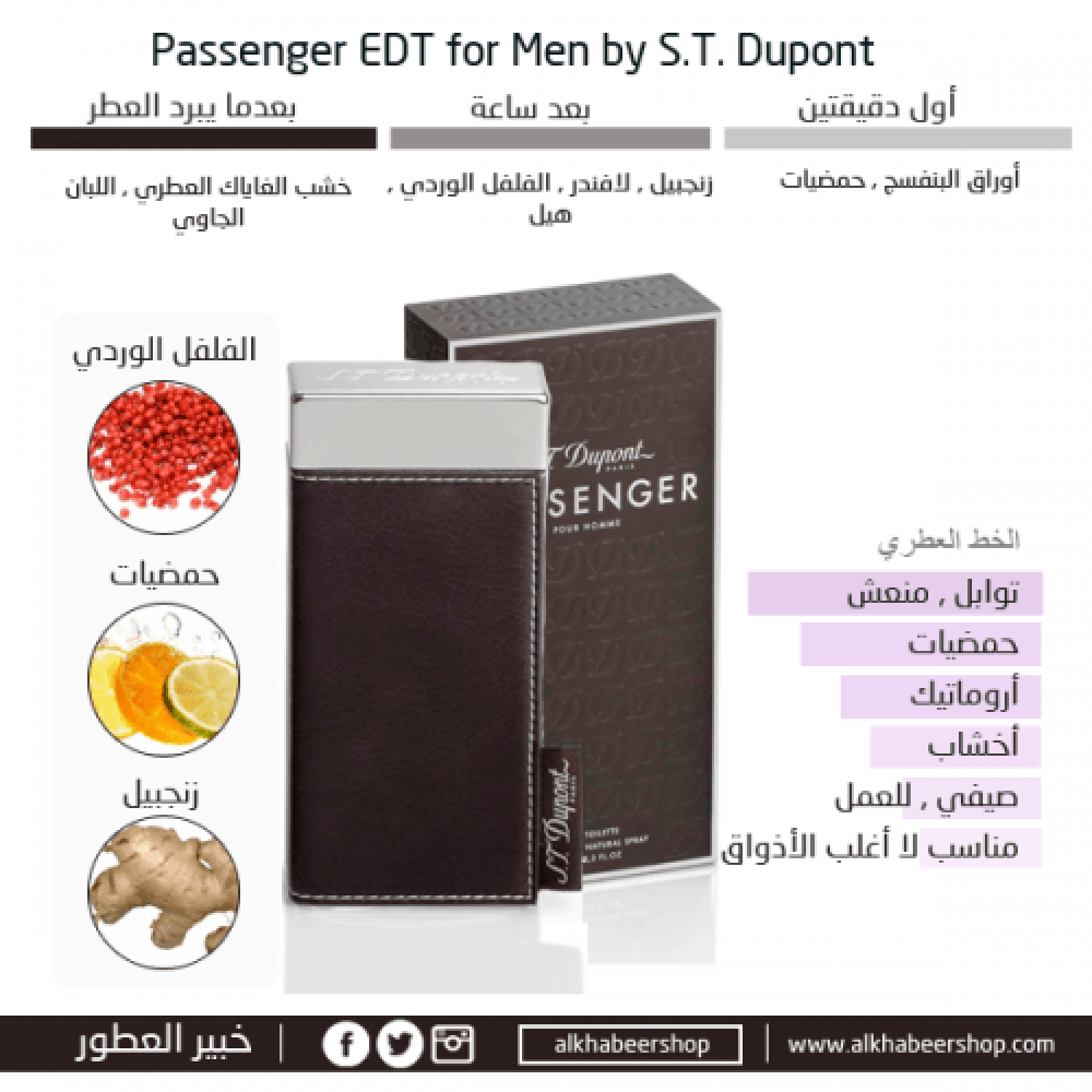 S T Dupont Passenger for Men Eau de Toilette  متجر خبير العطور