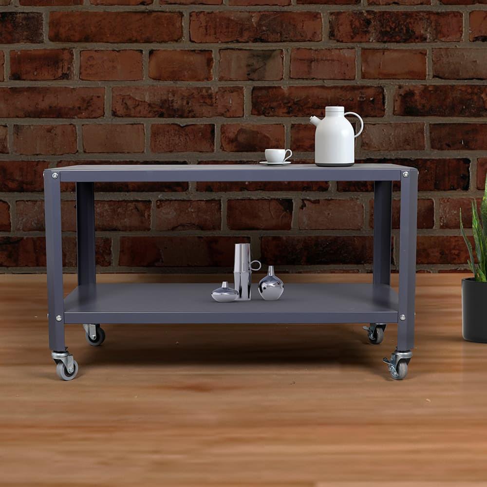 طاولات متنقلة طاولة متحركة بطبقتين موديل لوساكا رمادي