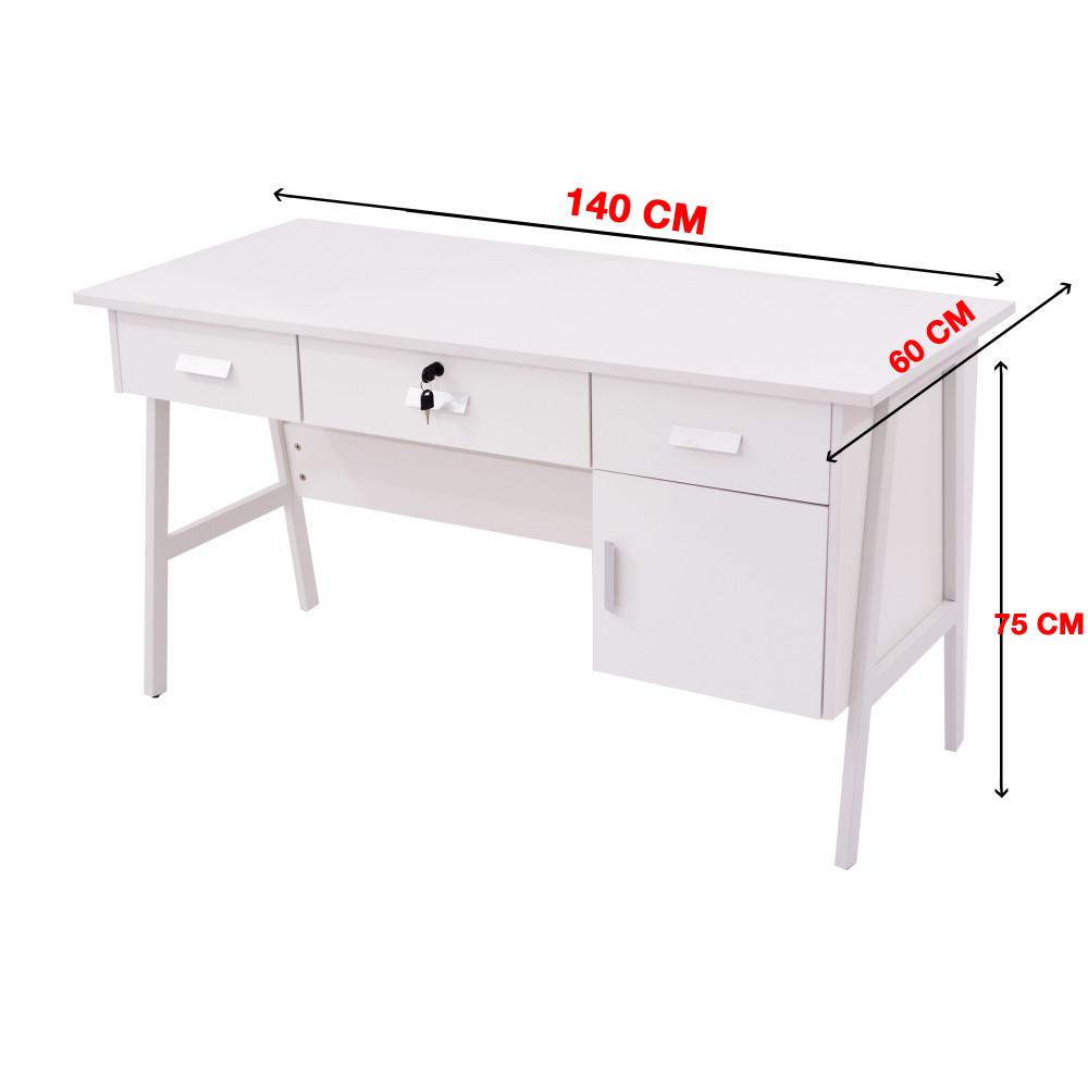 مكتب كاما 140 سم ابيض  9607-140-W