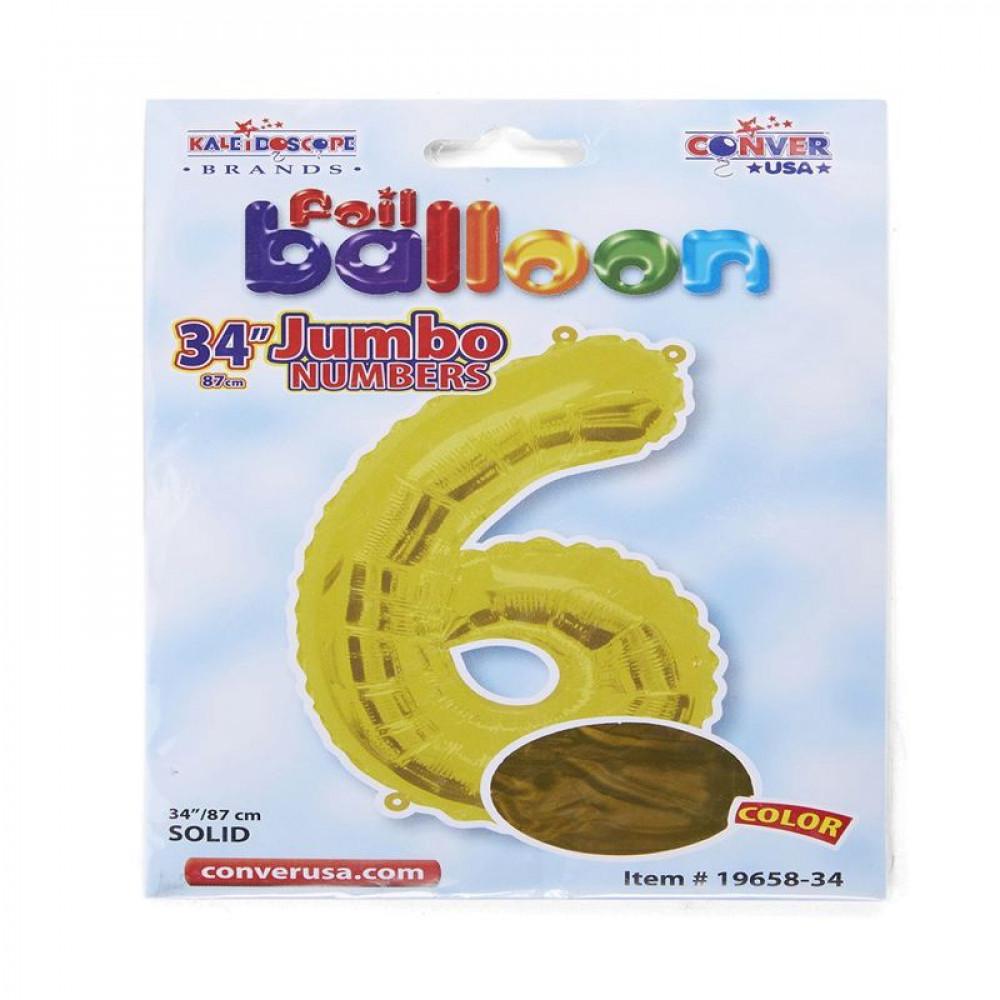 بالون ذهبي, بالون  رقم 6, بلونات أرقام, Golden Balloon