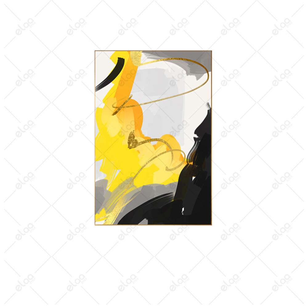 فن تجريدي اصفر - ابيض - رمادي
