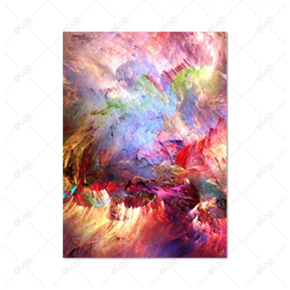لوحة فن تجريدي لدرجات الوردي والفسفوري