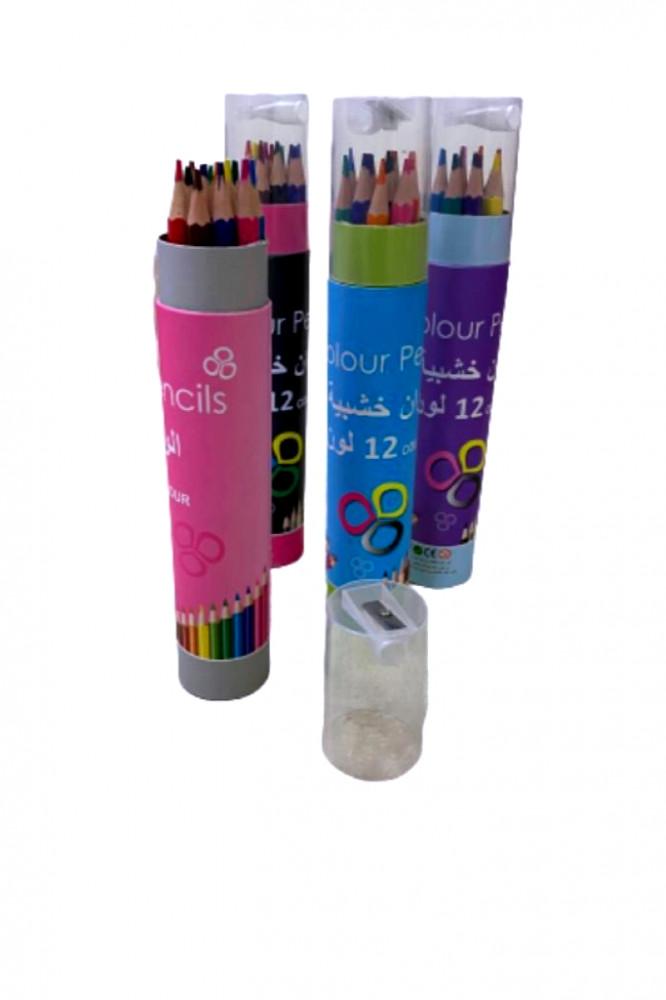 علبة ألوان خشبية من دنيا 12 لون مكتبة الميامين