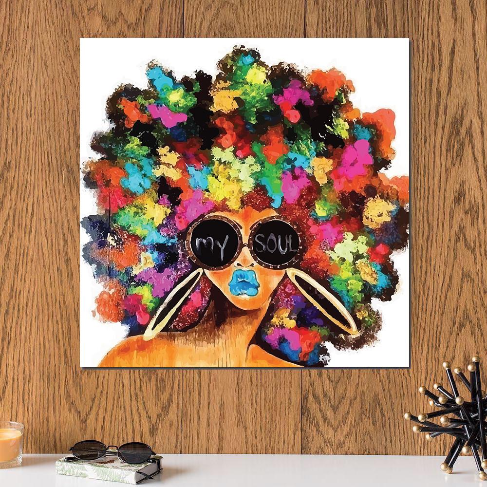 لوحة فتاة بألوان زاهية ماي سول خشب ام دي اف مقاس 30x30 سنتيمتر