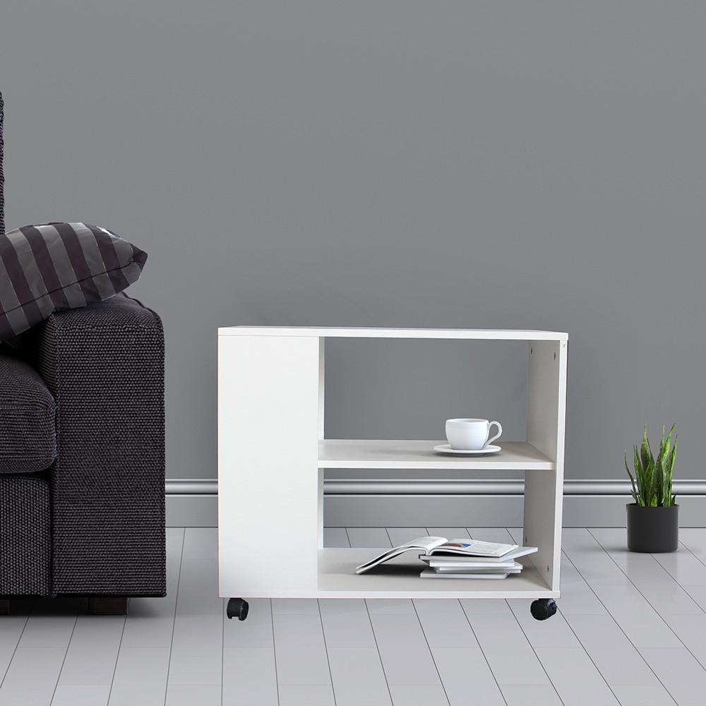 طاولة جانبية متحركة موديل ستيلو خشب أبيض2 وحدة تخزين و3 أرفف أنيقة