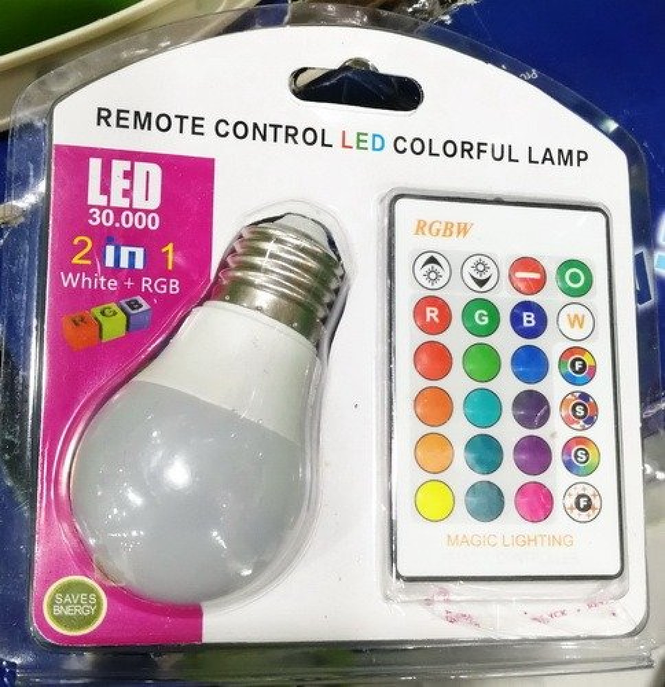 مصباح LED أبيض ملون قابل للتغيير مع التحكم عن بعد وظيفة ذاكرة