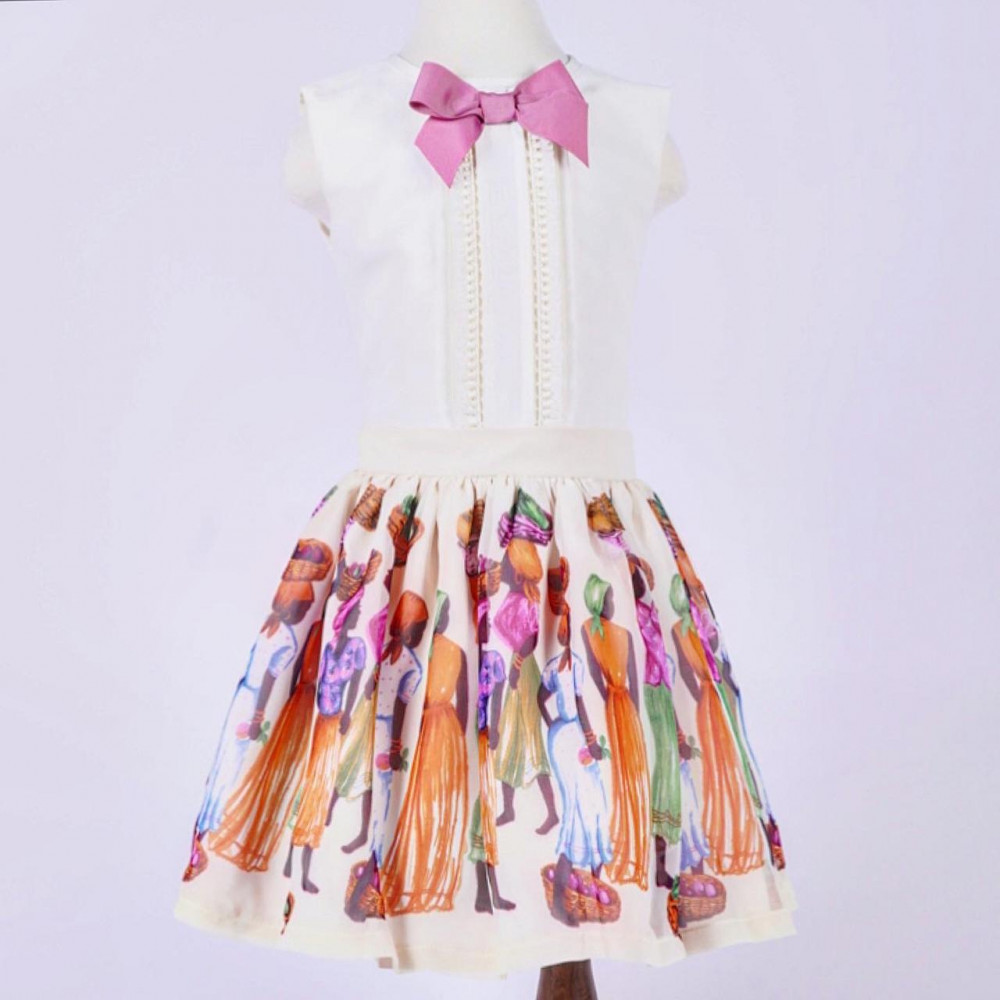 طقم الأفريقي لون بيج فستان اطفال ملابس اطفال فانسي كلوزيت بناتي تركي