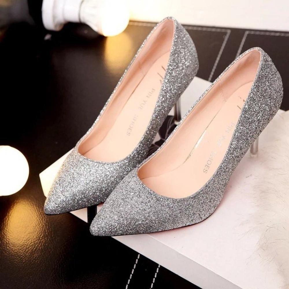 حذاء بكعب عالي فضي متوهج بألوان براقة - متجر تواجد