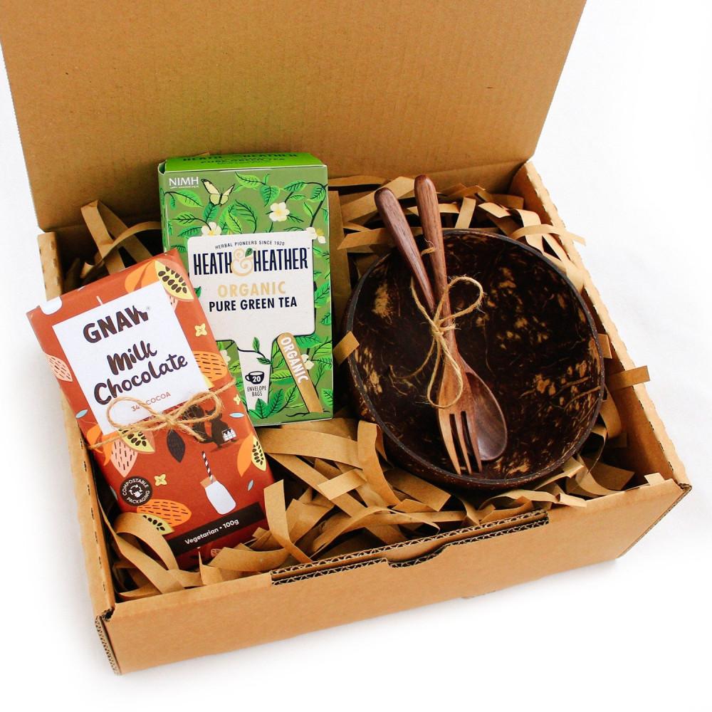 هدية جاهزة نباتي فيقن فيجن ريجيم أواني خشبية وعاء جوز الهند متجر هدايا