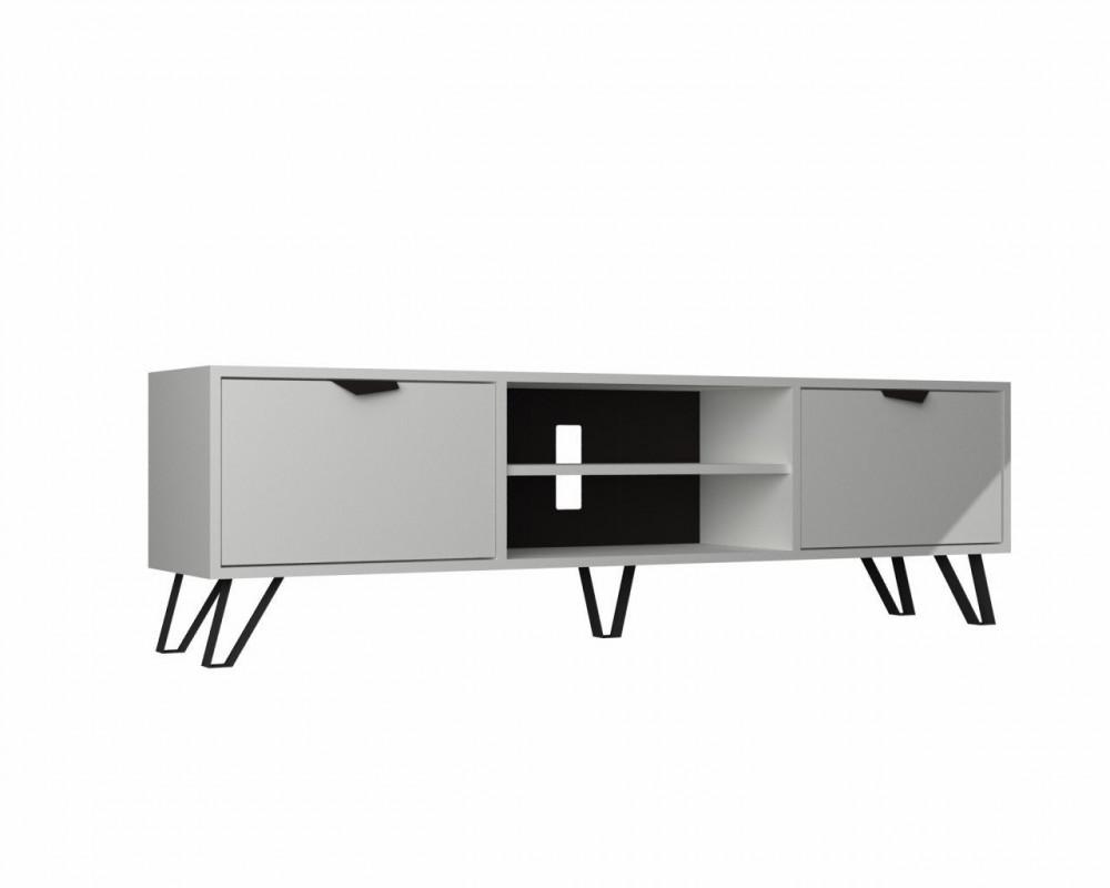 مواسم طاولة تلفاز أنيقة متعددة الاستخدام لون أبيض وأرجل سوداء