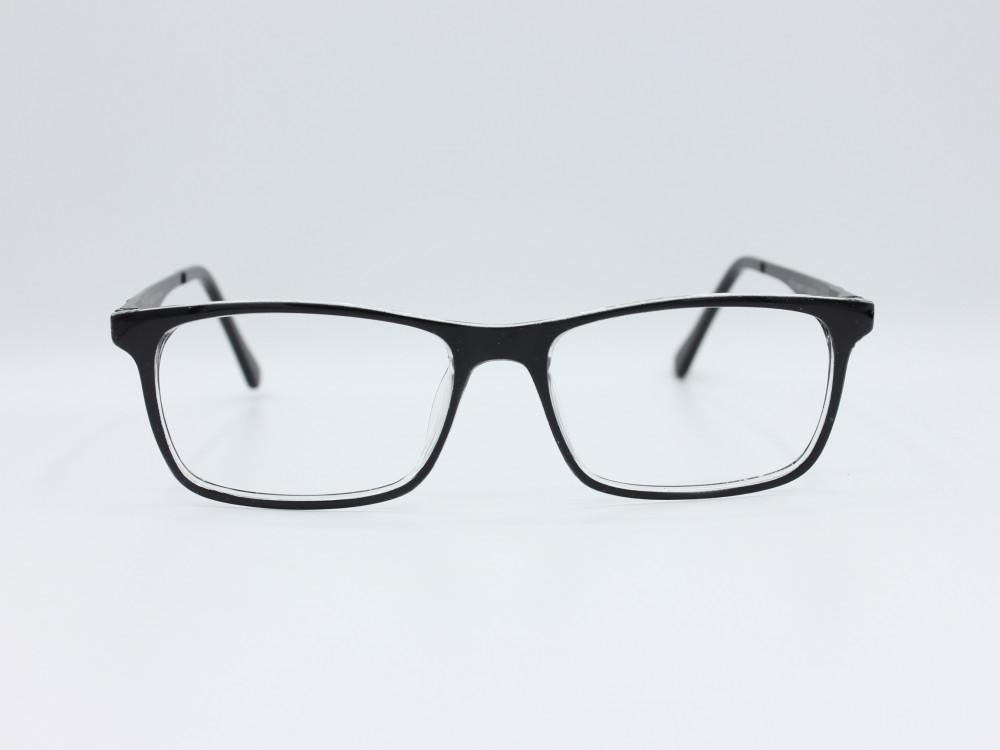نظارة طبية للجنسين  من ماركة T مستطيلة مع عدسات بحماية لون الاطار اسود