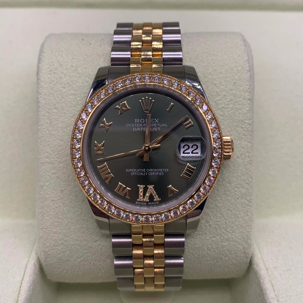 Datejust 31 Green Dial Watch 178383 ساعة رولكس للبيع مستخدمة